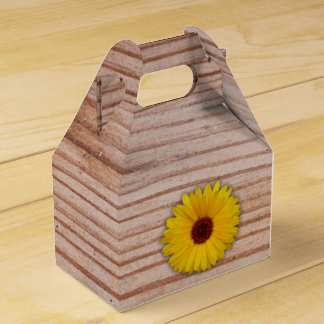 Sunflower Marigold on Rustic Wooden Boards Favour Box