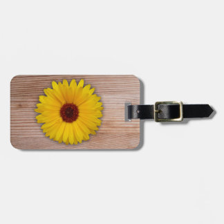 Sunflower Marigold on Rustic Wooden Boards Luggage Tag
