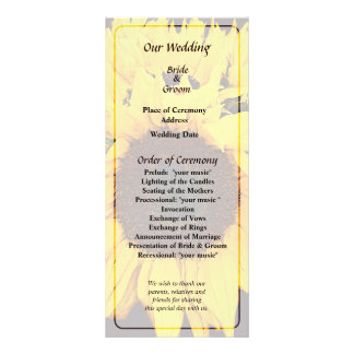 Sunflower Medallion Wedding Program Rack Card