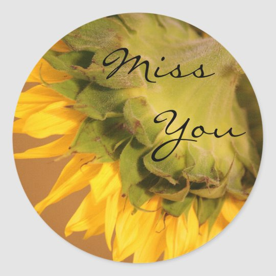Sunflower, Miss You Classic Round Sticker