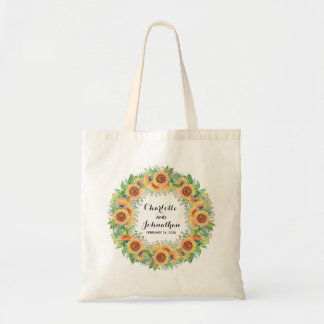 Sunflower Modern Floral Watercolor Wreath Tote Bag