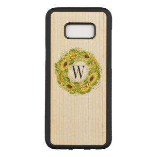 Sunflower Monogram Wood Case