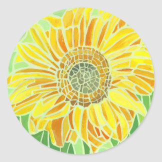 Sunflower Mosaic Design Classic Round Sticker