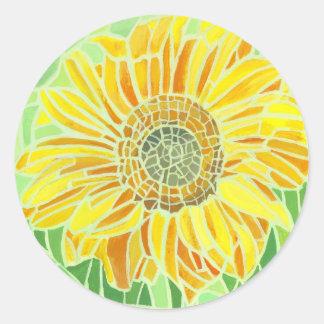 Sunflower Mosaic Design Round Sticker