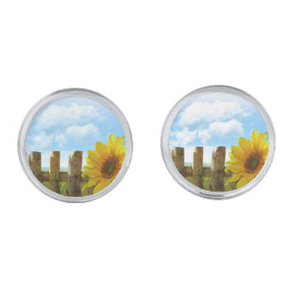 Sunflower Nature Beauty Silver Finish Cuff Links