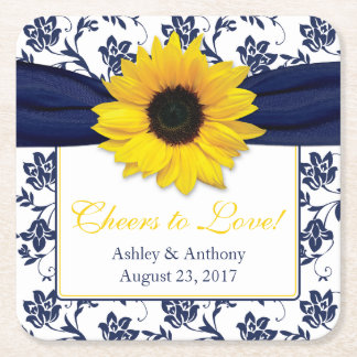 Sunflower Navy Blue Damask Personalized Wedding Square Paper Coaster