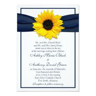 Sunflower Navy Blue Ribbon Wedding Invitation 13 Cm X 18 Cm Invitation Card