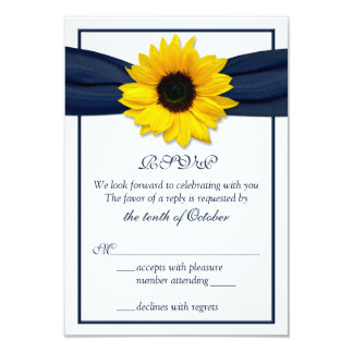 Sunflower Navy Blue Ribbon Wedding RSVP Card