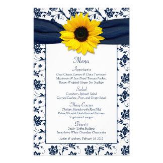 Sunflower Navy Blue White Damask Wedding Menu Card 14 Cm X 21.5 Cm Flyer