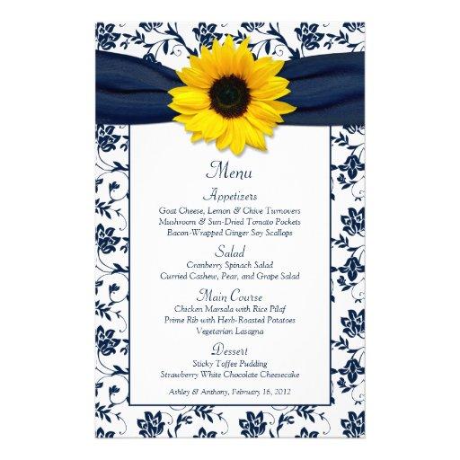 Sunflower Navy Blue White Damask Wedding Menu Card Custom Flyer