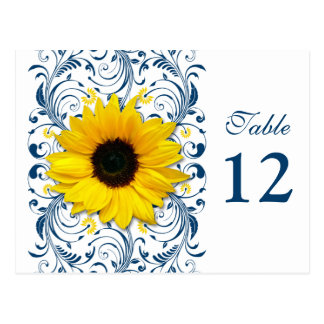 Sunflower Navy Blue White Floral Table Number Card Postcard
