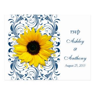 Sunflower Navy Blue White Floral Wedding Rsvp Post Card