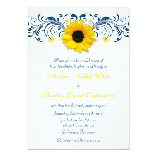 Sunflower Navy Blue Yellow White Floral Wedding Card