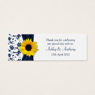 Sunflower Navy Damask Floral Wedding Favor Tags
