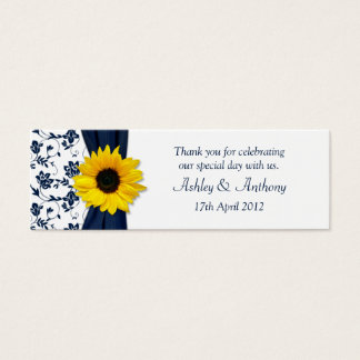 Sunflower Navy Damask Floral Wedding Favor Tags Mini Business Card