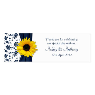 Sunflower Navy Damask Floral Wedding Favor Tags Pack Of Skinny Business Cards