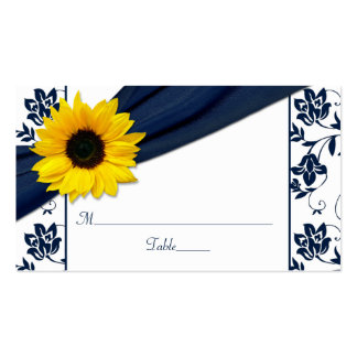 Sunflower Navy Damask Floral Wedding Place Cards Pack Of Standard Business Cards
