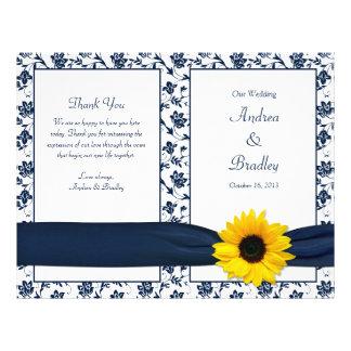 Sunflower Navy Damask Floral Wedding Program Flyer