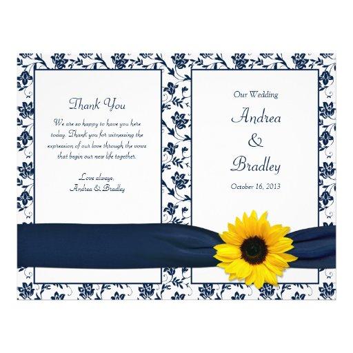 Sunflower Navy Damask Floral Wedding Program Personalized Flyer