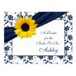 Sunflower Navy Damask Recipe Card for the Bride Post Cards