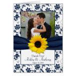 Sunflower Navy Damask Wedding Thank You Card