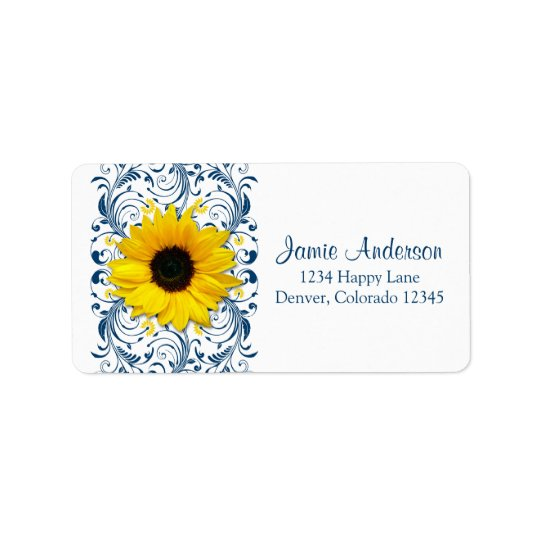 Sunflower Navy Floral Wedding Return Address Label