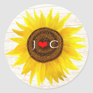Sunflower on Birch Bark Rustic Country Wedding Classic Round Sticker