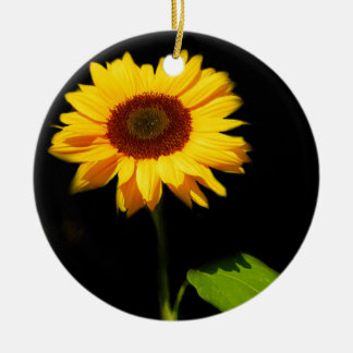 Sunflower on Black Background Christmas Ornament