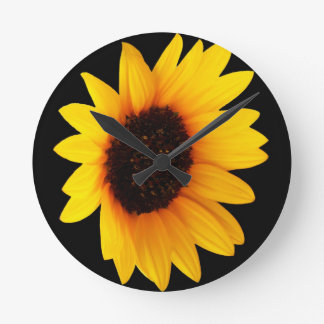 Sunflower on Black Background Round Clock