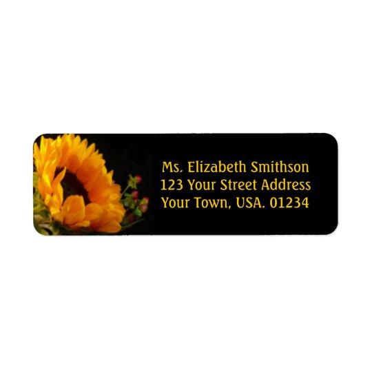 Sunflower On Black Return Address Mailing Labels