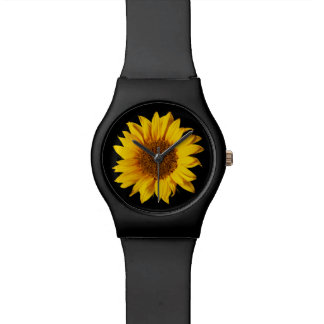 Sunflower on Black Sun Flower Floral Template Wristwatches
