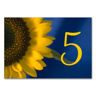 Sunflower on Blue Table Numbers Table Cards
