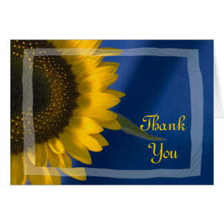 Sunflower on Blue Thank You Card