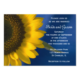 Sunflower on Blue Wedding 13 Cm X 18 Cm Invitation Card