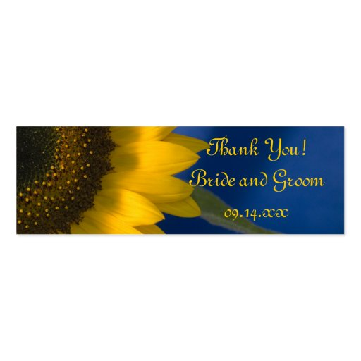 Sunflower on Blue Wedding Favor Tags Business Card