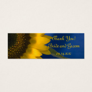 Sunflower on Blue Wedding Favor Tags Mini Business Card
