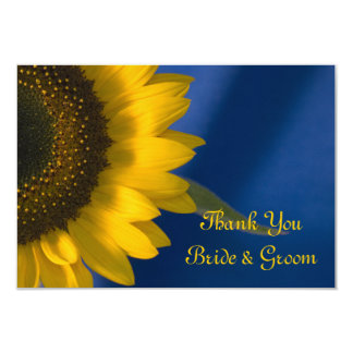 Sunflower on Blue Wedding Flat Thank You Notes 9 Cm X 13 Cm Invitation Card
