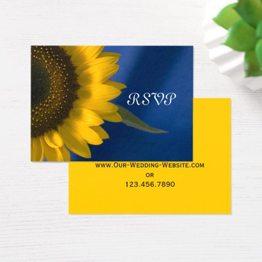 Sunflower on Blue Wedding RSVP Response Card