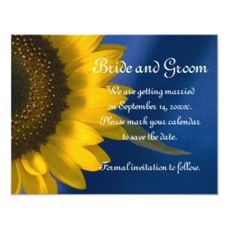 Sunflower on Blue Wedding Save the Date Card