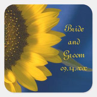 Sunflower on Blue Wedding Stickers