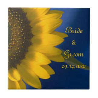 Sunflower on Blue Wedding Tile