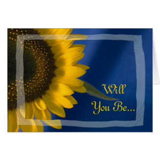 Sunflower on Blue Will You Be My Bridesmaid Greeting Card
