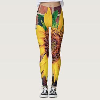 sunflower on bricks leggings