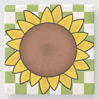 Sunflower on Green and White Checkered Coaster