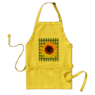 Sunflower on Green Lace Gingham Adult Apron