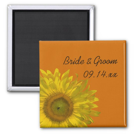Sunflower on Orange Wedding Square Magnet