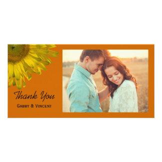 Sunflower on Orange Wedding Thank You Customized Photo Card
