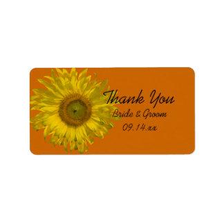 Sunflower on Orange Wedding Thank You Favor Tags Address Label