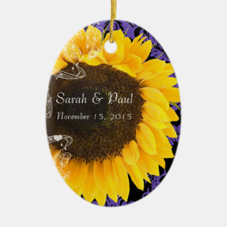Sunflower on Purple Damask Wedding Christmas Ceramic Oval Decoration