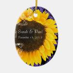 Sunflower on Purple Damask Wedding Christmas Christmas Tree Ornament